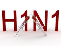 H1N1 with the two syringes Royalty Free Stock Photography