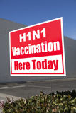 H1N1 Vaccination Sign Outdoors Stock Image