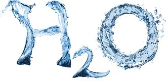 H2O. Sign from water with water-drops Stock Photo