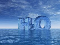H2o. Chemistry symbol for water - h2o - letters at the ocean - 3d illustration Royalty Free Stock Image