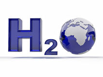 H2O. Formula of water. Royalty Free Stock Photos