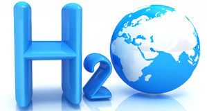 H2O. Formula of water. On white background. 3d Stock Photography