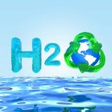 H2O formule op het Concept van waterEco Stock Afbeelding