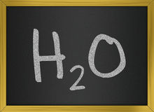 H2O - Water. Illustration representing water chemical formula on a blackboard Royalty Free Stock Photos