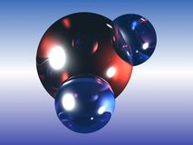 H2O water molecule. Water molecule generated in a 3d programme Royalty Free Stock Photo