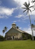 H81 Historic Keanae Church. The Keanae stone church on Maui's Hana Highway in one of the last aboriginal Hawaiian settlements still relatively untouched by royalty free stock photo