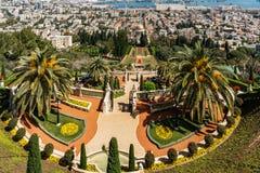 HAÏFA, ISRAËL 25 MARS 2018 : Vue à partir du dessus aux terrasses de la foi de Bahai au printemps photographie stock