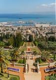 HAÏFA, ISRAËL 25 MARS 2018 : Vue à partir du dessus aux terrasses de la foi de Bahai au printemps photographie stock libre de droits