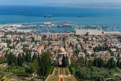 HAÏFA, ISRAËL 25 MARS 2018 : Vue à partir du dessus aux terrasses de la foi de Bahai au printemps photo stock