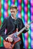 ha带(Morten Harket,保罗Waaktaar-savoy, Magne Furuholmen)执行在生活音乐会期间在2010年11月6日的米斯克 免版税库存图片
