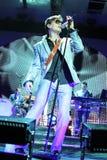 ha带(Morten Harket,保罗Waaktaar-savoy, Magne Furuholmen)执行在生活音乐会期间在2010年11月6日的米斯克 免版税库存照片