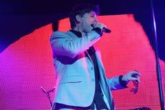 ha带(Morten Harket,保罗Waaktaar-savoy, Magne Furuholmen)执行在生活音乐会期间在2010年11月6日的米斯克 库存照片