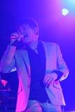 ha带(Morten Harket,保罗Waaktaar-savoy, Magne Furuholmen)执行在生活音乐会期间在2010年11月6日的米斯克 图库摄影