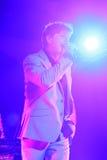 ha带(Morten Harket,保罗Waaktaar-savoy, Magne Furuholmen)执行在生活音乐会期间在2010年11月6日的米斯克 库存图片