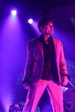 ha带(Morten Harket,保罗Waaktaar-savoy, Magne Furuholmen)执行在生活音乐会期间在2010年11月6日的米斯克 免版税图库摄影