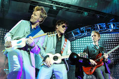 A-ha band (Morten Harket, Paul Waaktaar-Savoy, Magne Furuholmen) performs during the live concert in Minsk on November 6, 2010 Stock Photography