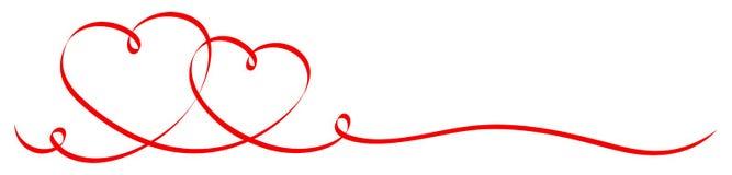 2 ha collegato l'insegna rossa del nastro dei cuori di calligrafia royalty illustrazione gratis