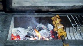 Ha cotto di recente il barbecue ed i pezzi di carne cotti sulla griglia archivi video
