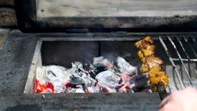 Ha cotto di recente il barbecue ed i pezzi di carne cotti sulla griglia stock footage