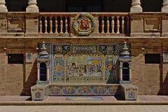 Ha decorato molto il banco in Plaza de Espana, Siviglia immagine stock
