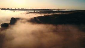 Ha determinato sorvolare il campo con nebbia video d archivio