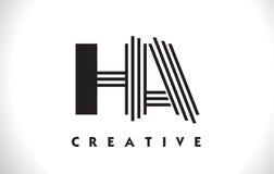 Ha di progettazione di Logo Letter With Black Lines Linea vettore Illus della lettera Immagine Stock