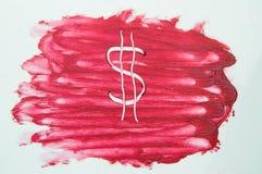 Ha dipinto il simbolo di dollaro sulla struttura del rossetto della sbavatura del campione Immagini Stock Libere da Diritti