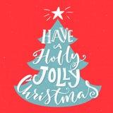 Ha en Holly Jolly Christmas Tappninghälsningkort med typografi och julgranen royaltyfri illustrationer