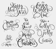 Ha en Holly Jolly Christmas, tyck om vintertid, äta och dricka och var hälsningen för glad glad jul och för det lyckliga nya året royaltyfri illustrationer