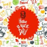 Ha ett citationstecken för trevlig dag med fastställda och roliga beståndsdelar för frukosten av mat och bokstäver i cirkelform K Arkivbild