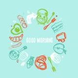 Ha ett citationstecken för trevlig dag med fastställda och roliga beståndsdelar för frukosten av mat och bokstäver i cirkelform K Royaltyfri Fotografi