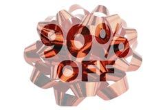 Ha evidenziato simbolico il testo 90% fuori contro lo sfondo di un ciclo rosso del regalo immagini stock