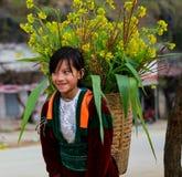 HA GIANG VIET NAM, Januari 01, 2016 systern, etniska Hmong, Ha Giang bergsområden namnger okända, en syster som bär Royaltyfria Bilder