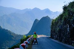 Free Ha Giang / Vietnam - 01/11/2017: Motorbiking Backpackers On Winding Roads Through Valleys And Karst Mountain Scenery In The North Royalty Free Stock Photo - 136603975