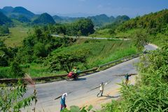 Free Ha Giang / Vietnam - 01/11/2017: Motorbiking Backpackers On Winding Roads Through Valleys And Karst Mountain Scenery In The North Royalty Free Stock Image - 136604056