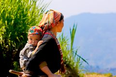 Ethnic mom and her child on the mountain near ripen rice terraces. stock photography