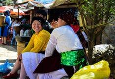 Ha Giang Vietnam - November 08, 2015: Oidentifierade traditionellt klädde flickor av stammen Hmong för etnisk minoritet i Vietnam Arkivbilder