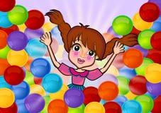 Ha gyckel i färgrika bollar Fotografering för Bildbyråer