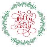 Ha Holly Jolly Christmas en modern kalligrafibokstäver Vektorillustration för hälsningkort, affischer, baner stock illustrationer