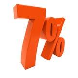 7 ha isolato il segno di percentuali rosso Fotografia Stock