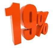 19 ha isolato il segno di percentuali rosso Immagine Stock Libera da Diritti