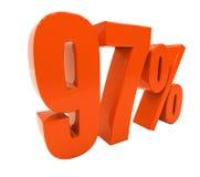 97 ha isolato il segno di percentuali rosso Immagini Stock Libere da Diritti