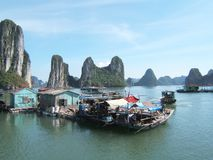 Ha Long Bay. Floating houses, Vietnam Royalty Free Stock Photos