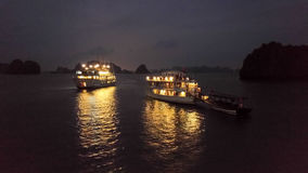 Ha Long Bay by night Royalty Free Stock Photos