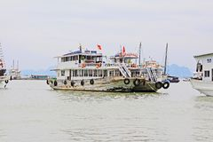 Ha Long Bay Sightseeing Boat, Vietnam UNESCO World Heritage Stock Photo