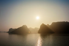 Ha long bay Silhouettes of mountains Vietnam Royalty Free Stock Photography