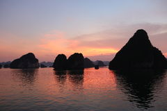 Ha Long Bay sunset, Vietnam Royalty Free Stock Photo