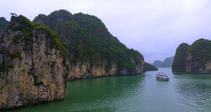 Ha Long Bay. A UNESCO Heritage site Ha Long Bay is nothing short than breathless. The limestone structures that erect from the ocean floor makes this such a Stock Images