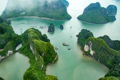 Ha Long Bay view from above, the most beautiful bay on the world. Ha Long Bay. UNESCO World Heritage site. Ha Long Bay, in the Gulf of Tonkin, includes some 1 royalty free stock photo