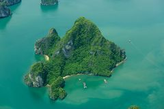 Ha Long Bay view from above, fisher farm in Halong bay. Ha Long Bay. UNESCO World Heritage site. Ha Long Bay, in the Gulf of Tonkin, includes some 1,600 islands royalty free stock photos